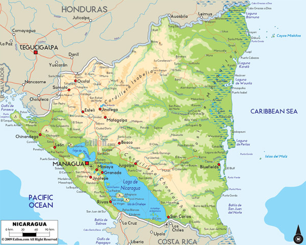 Large detailed physical map of Nicaragua with roads and cities.