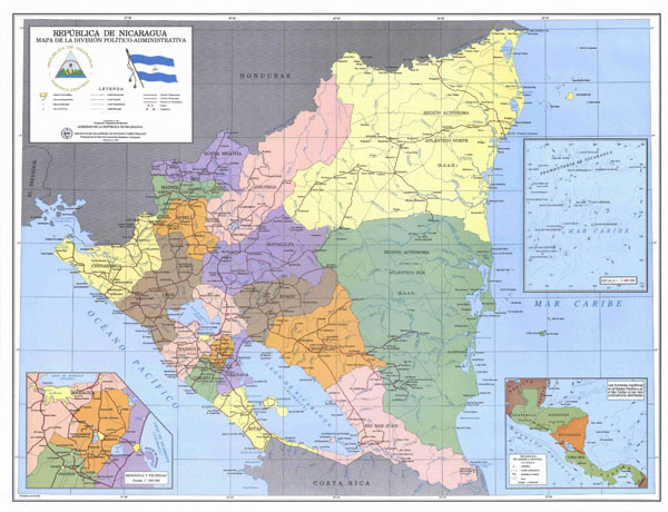 Large detailed political and administrative map of Nicaragua with roads and cities.