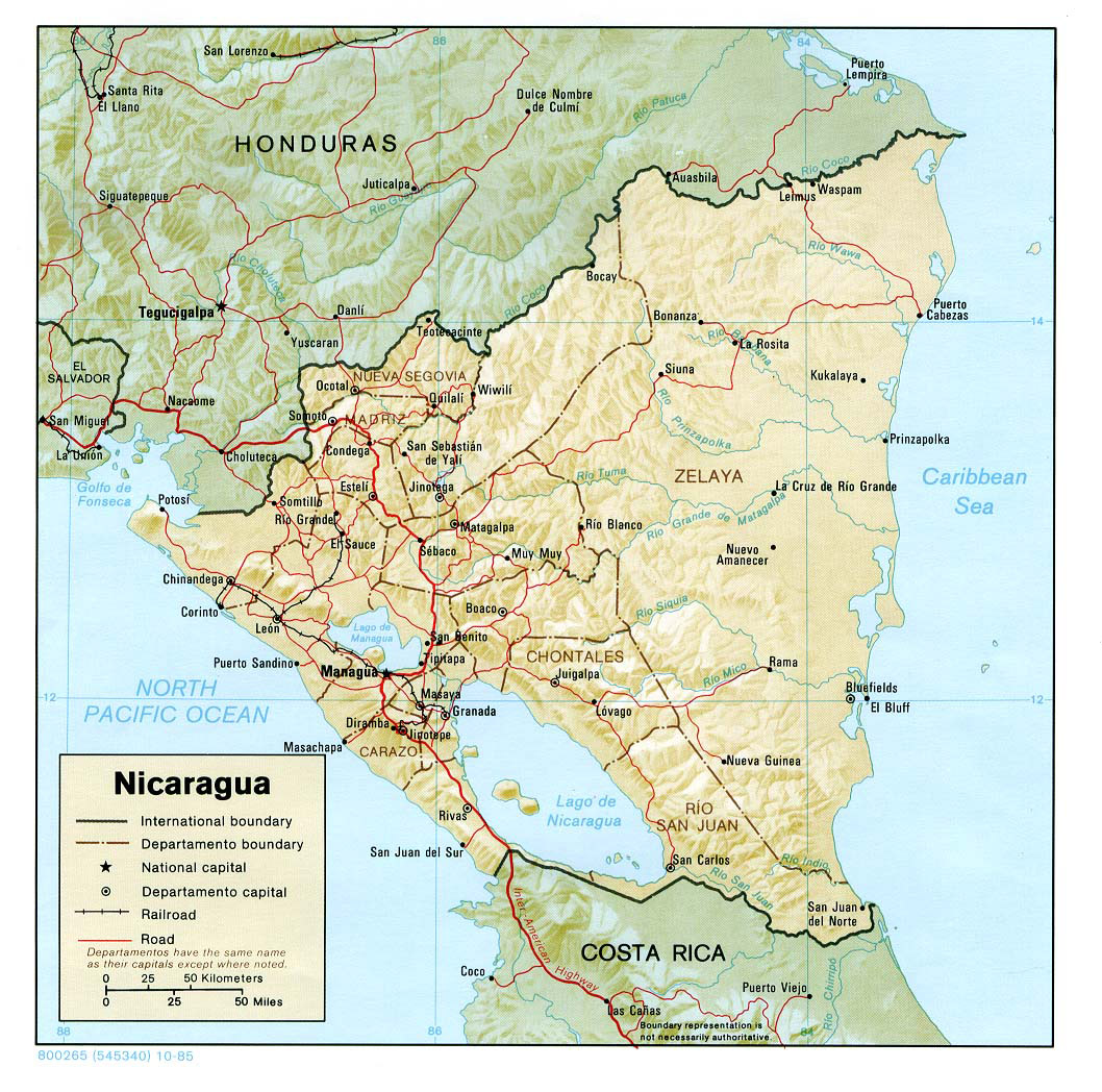 Large detailed relief and administrative map of Nicaragua Nicaragua