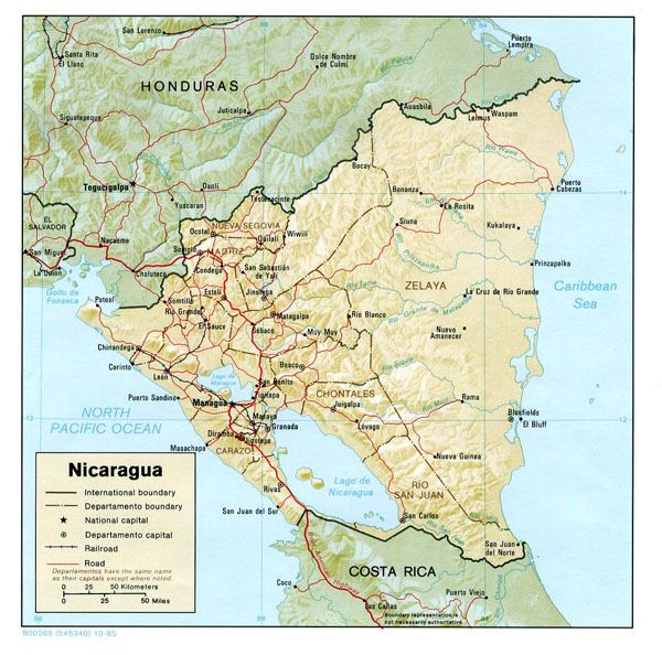 Large detailed relief and administrative map of Nicaragua.