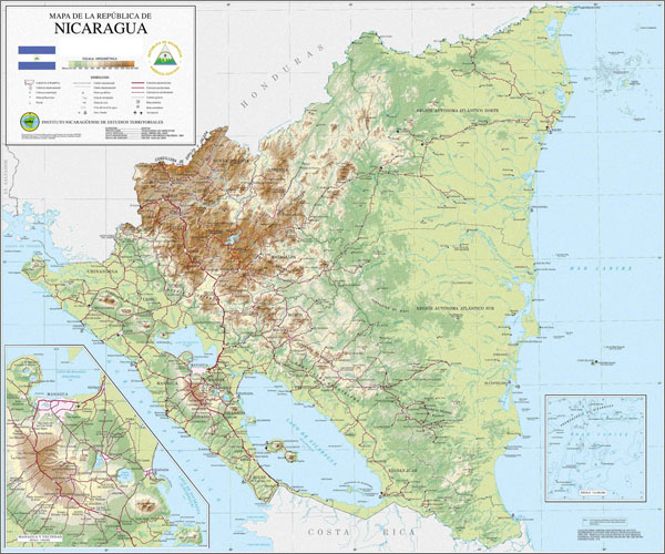 Large detailed topographical map of Nicaragua.
