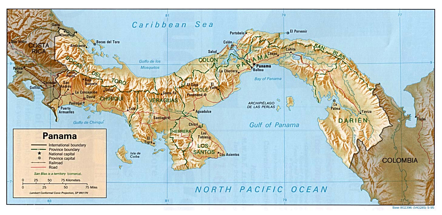Detailed administrative and relief map of Panama Panama detailed