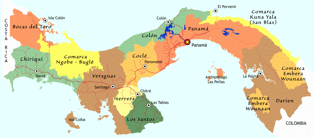 Detailed administrative map of Panama Panama detailed