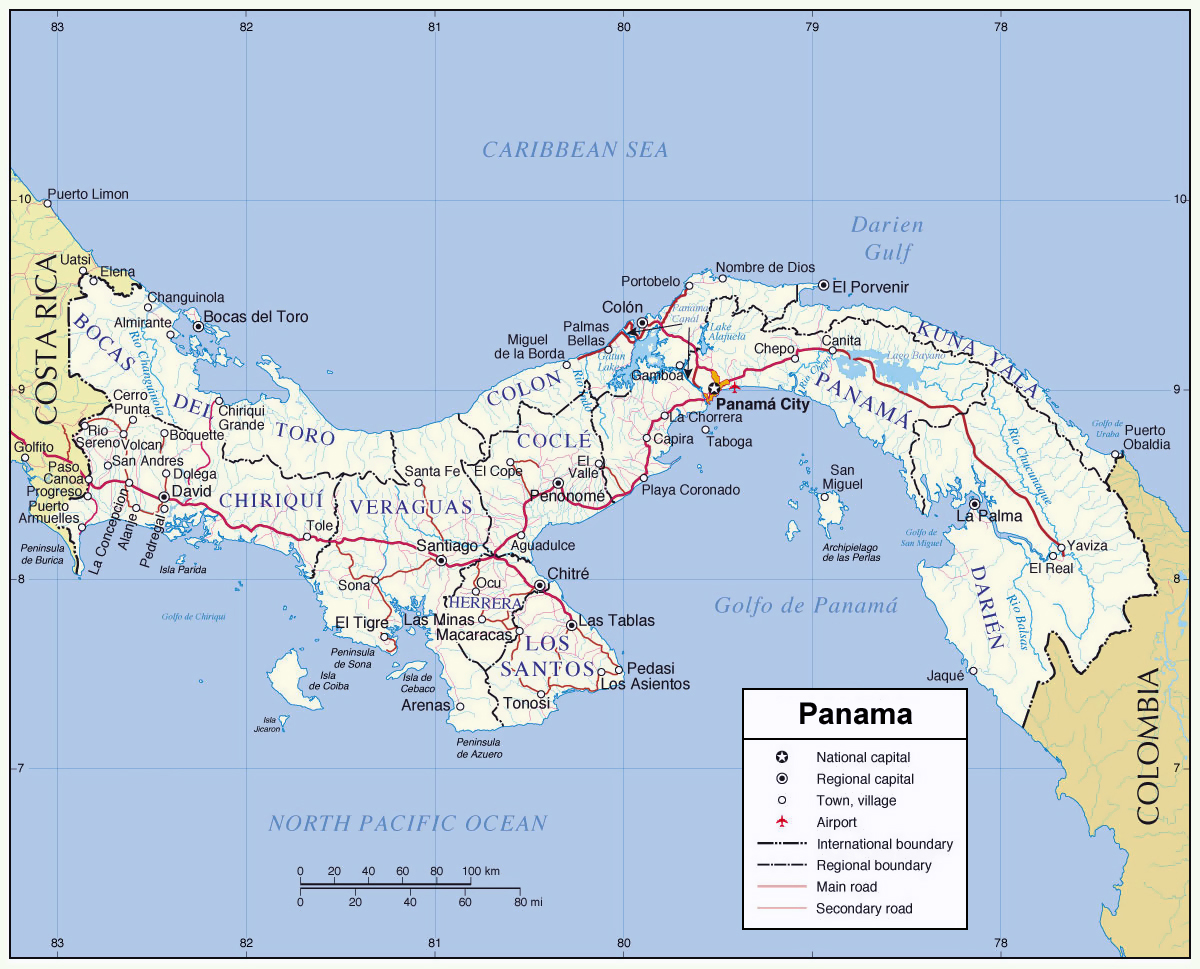 Large detailed administrative map of Panama Panama large detailed