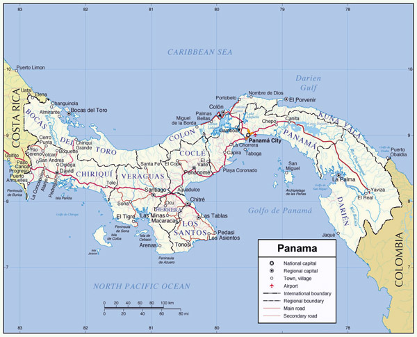 Large detailed administrative map of Panama.