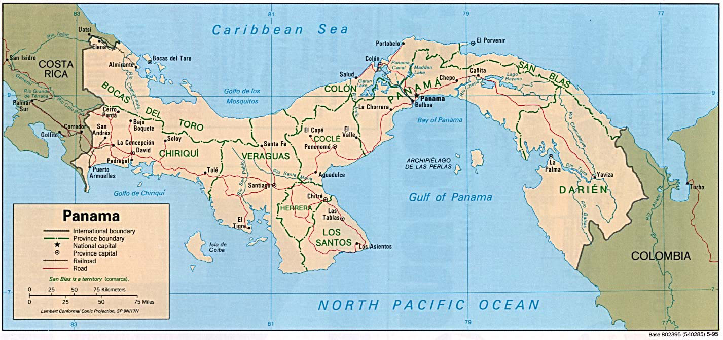 Large detailed political and administrative map of Panama Panama