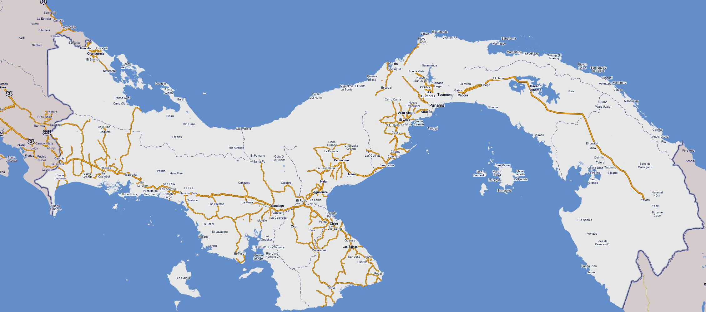 Large detailed road map of Panama Panama large detailed road map