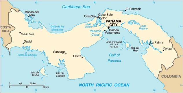 Map of Panama with cities. Panama map with cities.