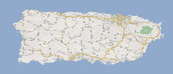 Detailed road map of Puerto Rico with cities.