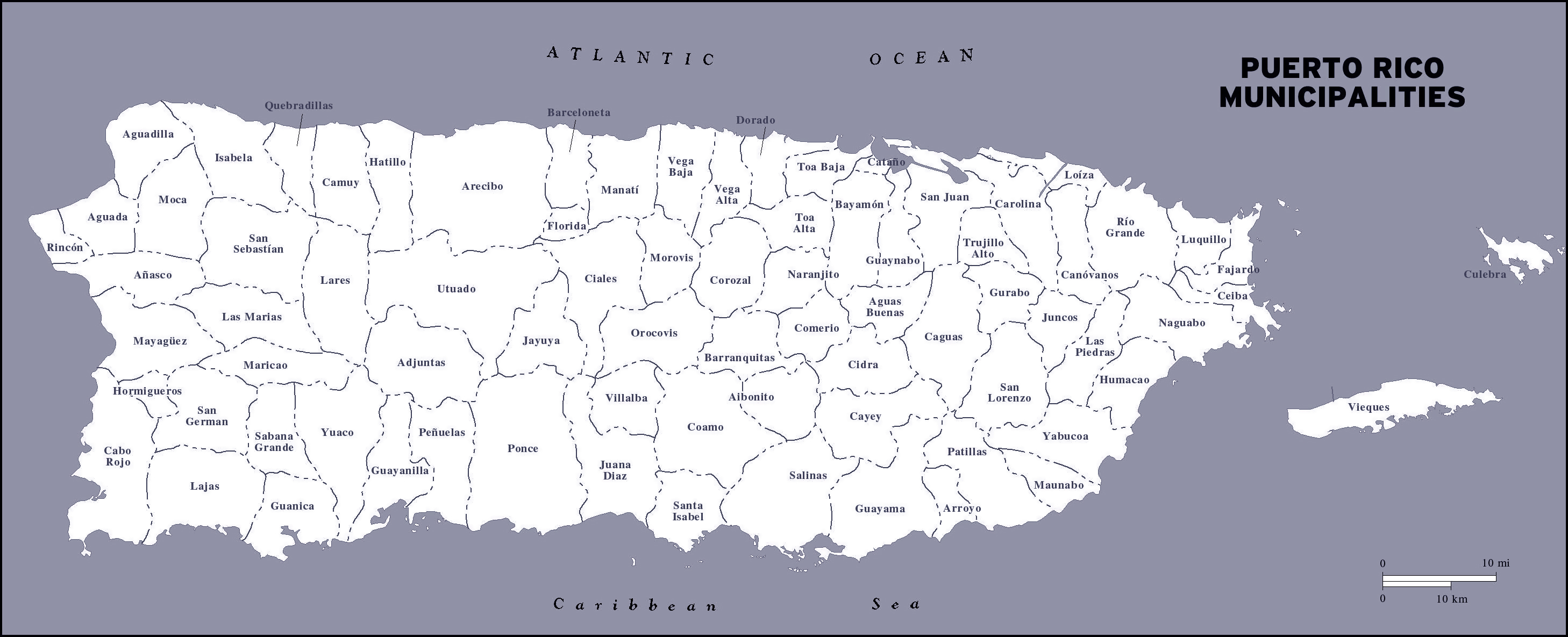 Large detailed administrative map of Puerto Rico. Puerto Rico