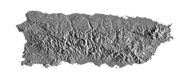 Large detailed relief map of Puerto Rico.