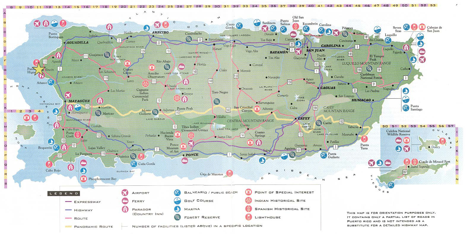 Large Detailed Road And Tourist Map Of Puerto Rico Puerto Rico - Puerto rico maps