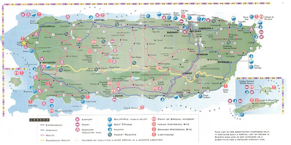 Large detailed road and tourist map of Puerto Rico.