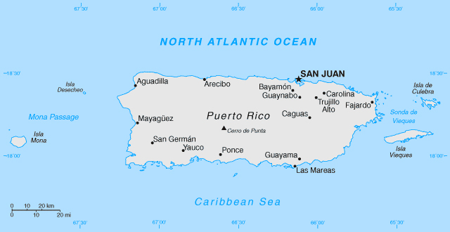 Map of Puerto Rico. Puerto Rico map.