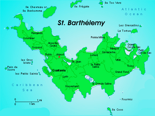 Detailed map of St. Barthelemy. St. Barthelemy detailed map.