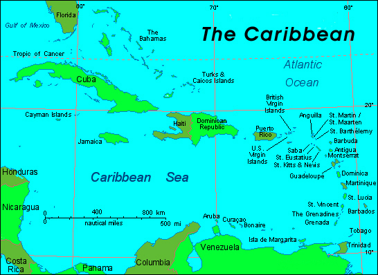 Detailed political map of Caribbean. Caribbean detailed political map.