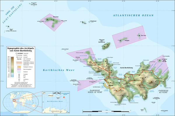 Large detailed physical and road map of Saint Barthelemy.