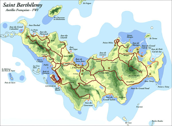 Large detailed road and tourist map of St. Barthelemy island.