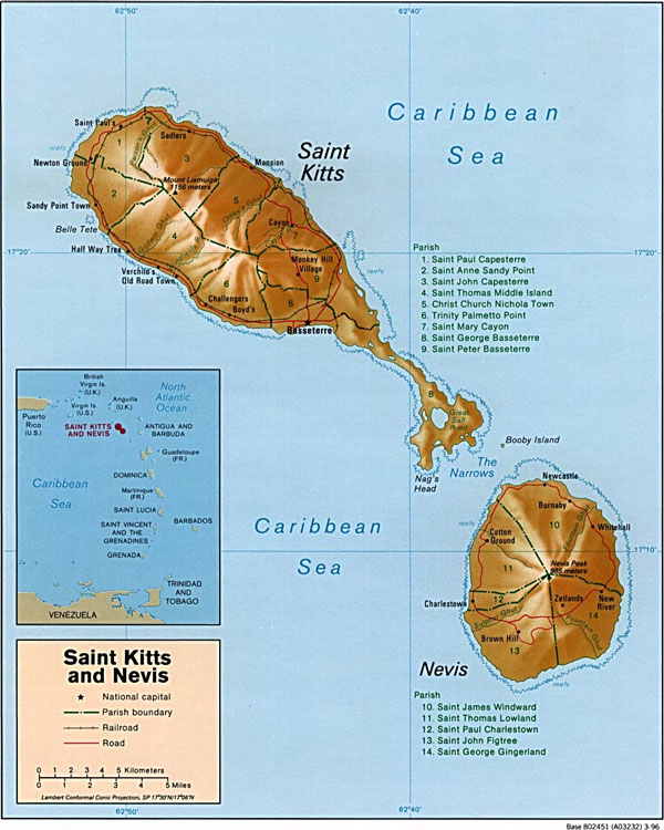Large detailed administrative and relief map of Saint Kitts and Nevis.