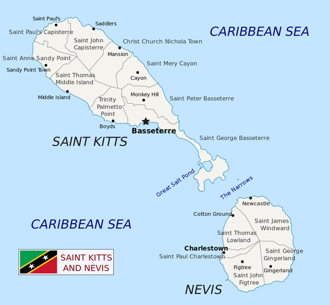 Large detailed administrative map of Saint Kitts and Nevis.