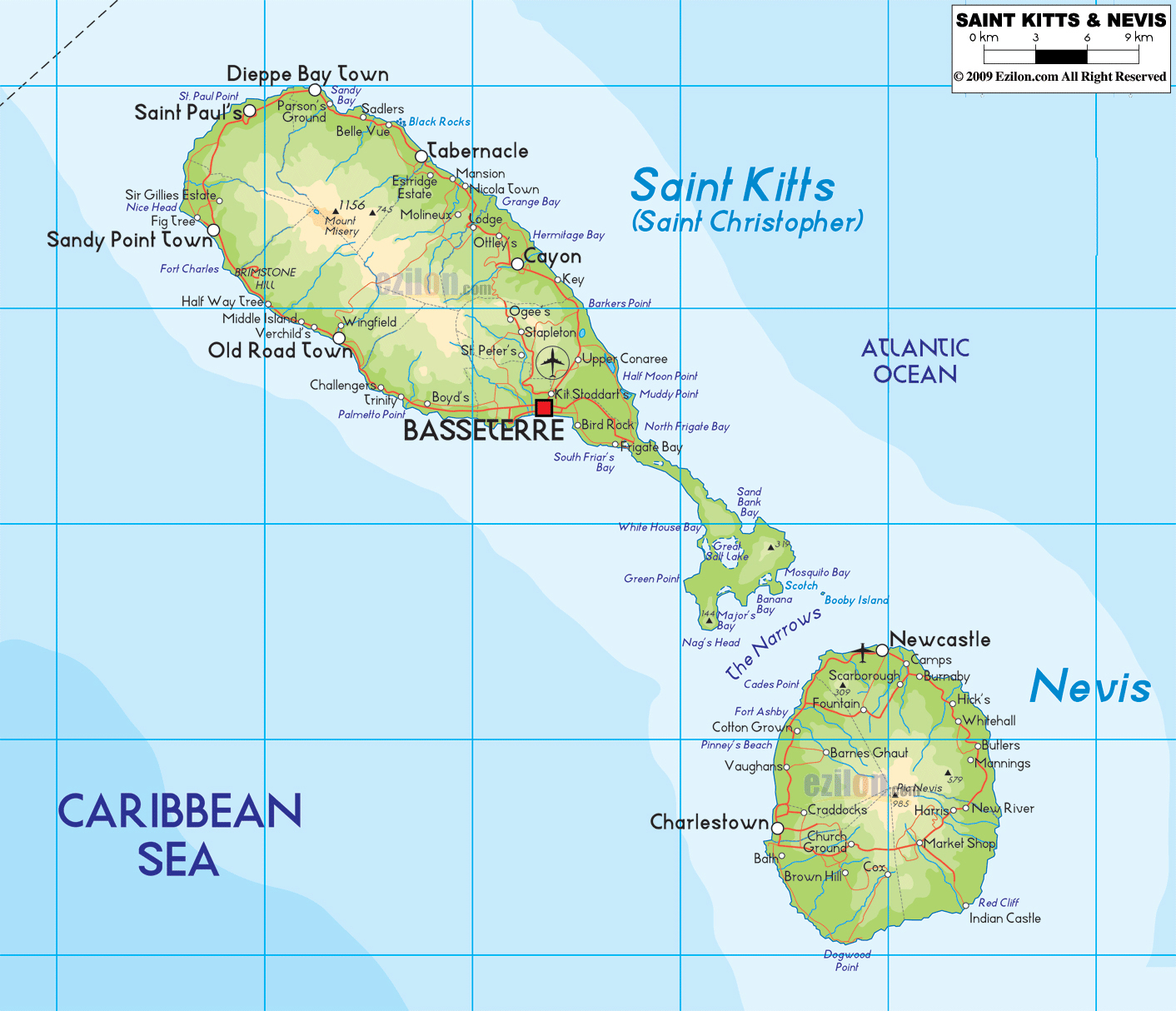 Large detailed physical map of Saint Kitts and Nevis with roads and