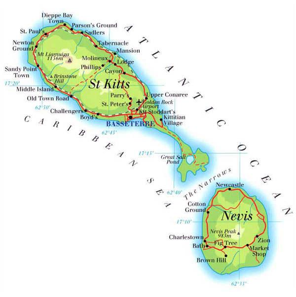 Large detailed road and physical map of Saint Kitts and Nevis islands.