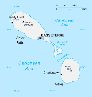 Map of Saint Kitts and Nevis. Saint Kitts and Nevis map.