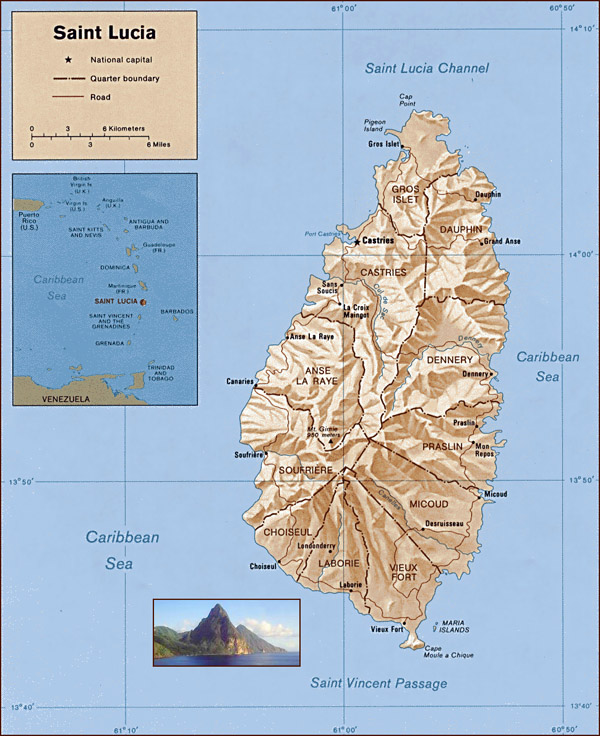 Large detailed administrative and relief map of Saint Lucia.