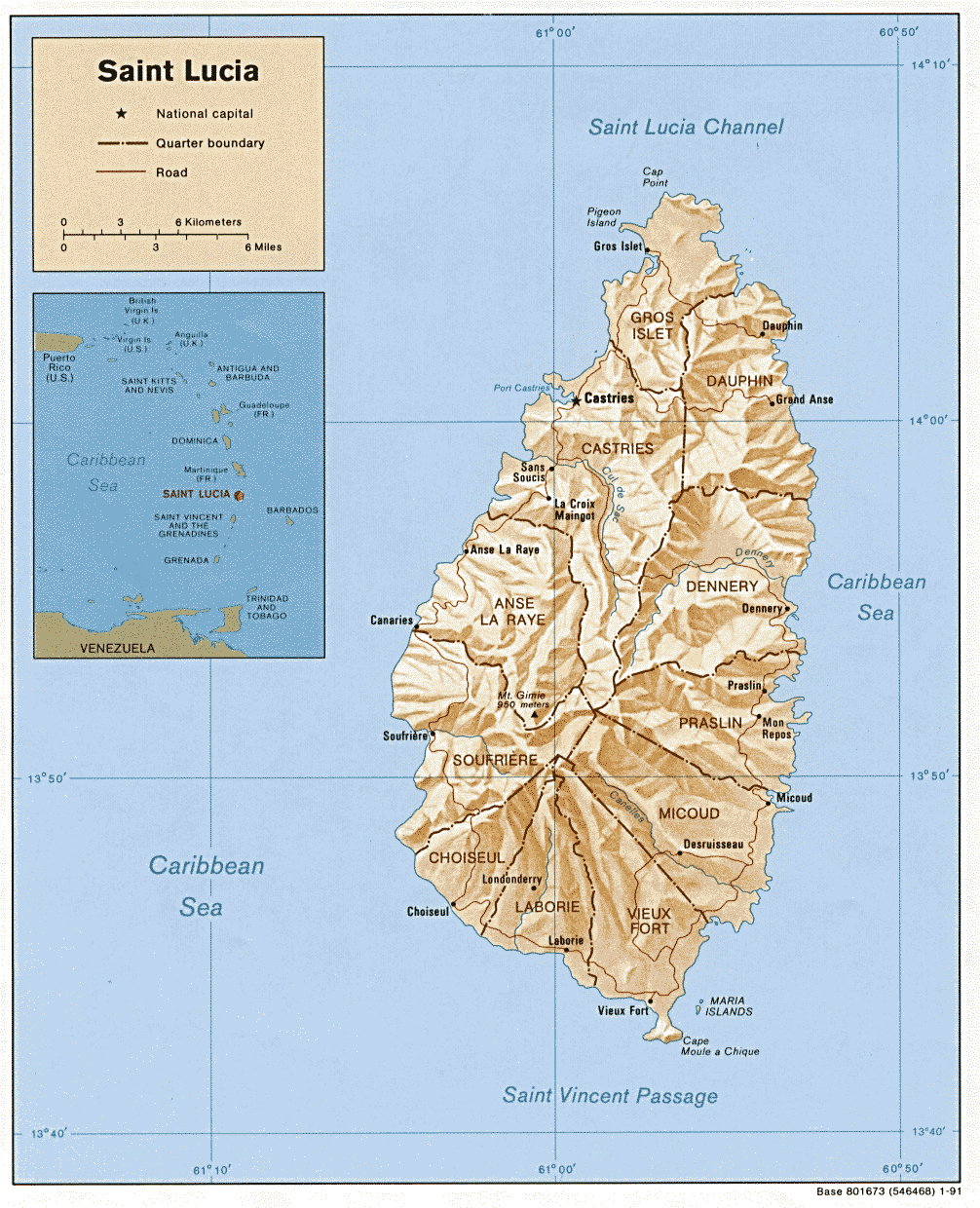 Large detailed political and relief map of Saint Lucia Saint Lucia