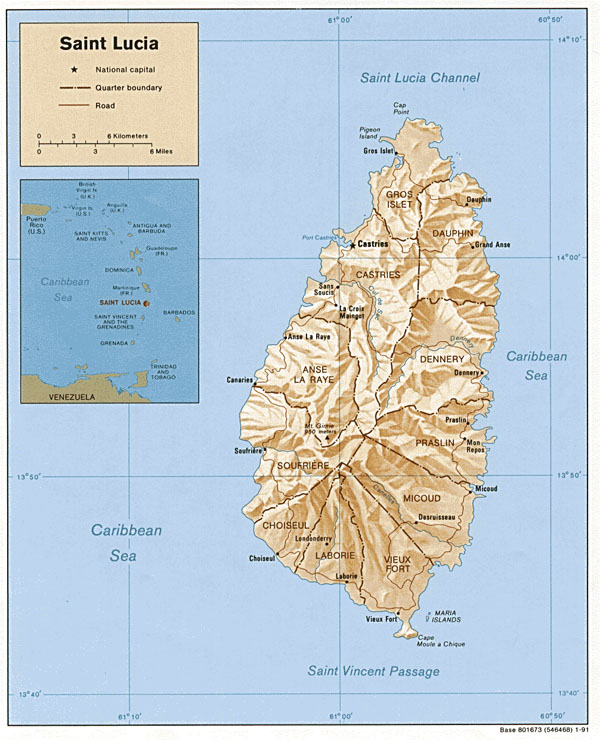Large detailed political and relief map of Saint Lucia.