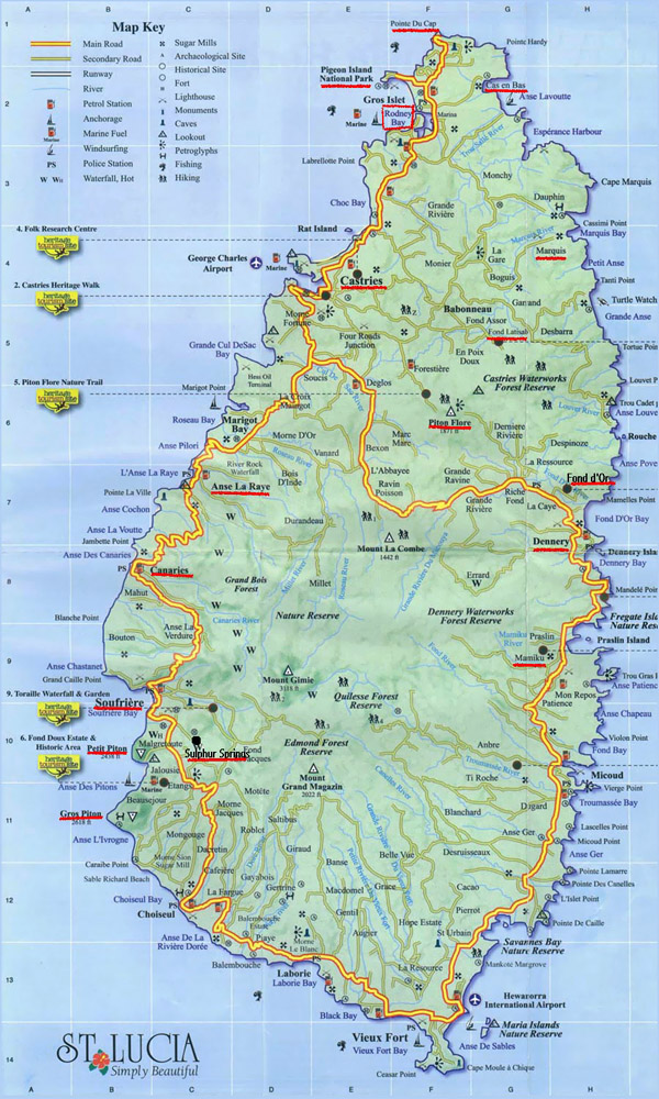 Large detailed road map of Saint Lucia.