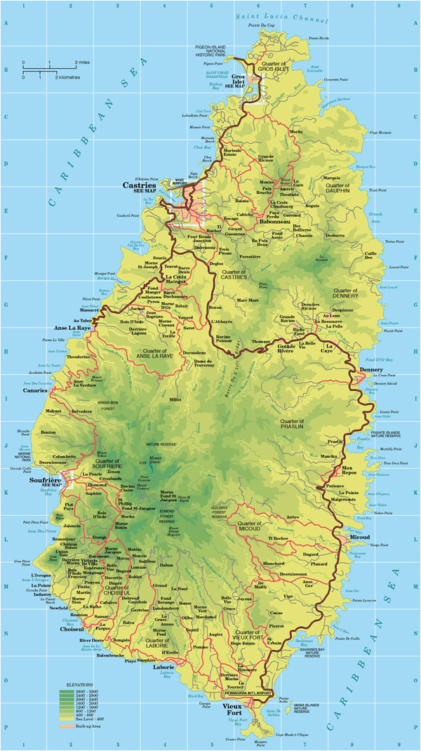 Large detailed tourist and road map of Saint Lucia.