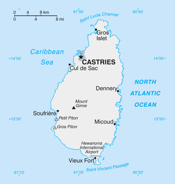 Map of Saint Lucia. Saint Lucia map.