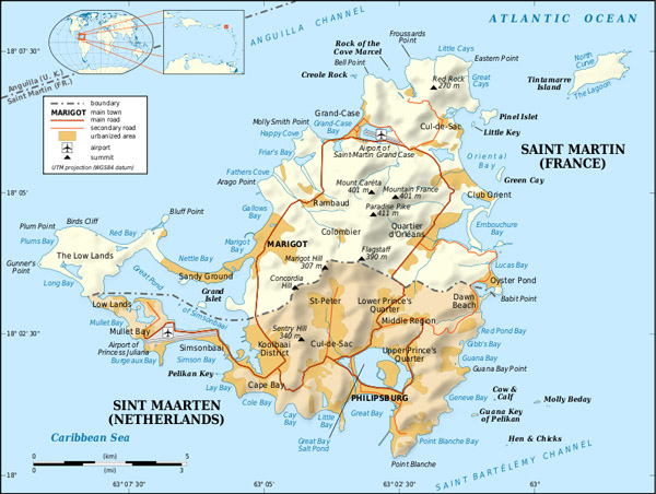 Detailed road and political map of St. Maarten.