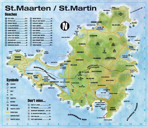 Large detailed road and physical map of St. Maarten.