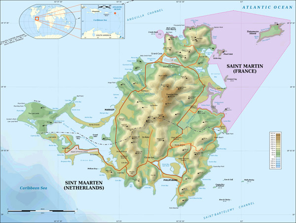 Large detailed topographical map of Saint Martin island.