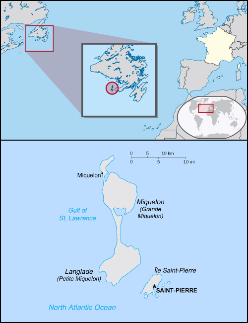 Detailed political map of Saint-Pierre and Miquelon.