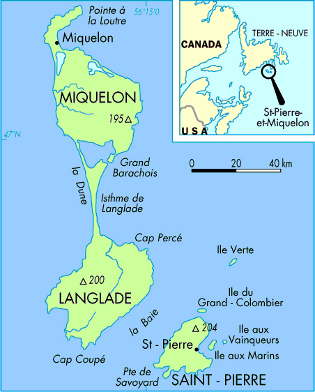 Large detailed political map of SaintPierre and Miquelon Saint
