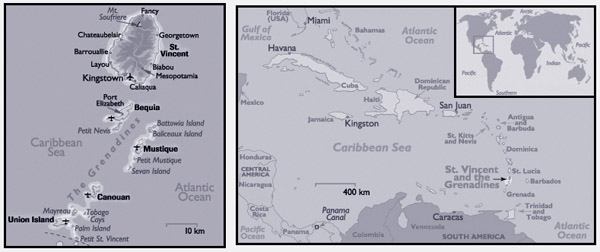 Detailed political map of Saint Vincent and the Grenadines.