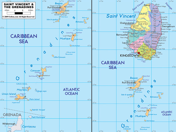 Large detailed administrative and road map of Saint Vincent and the Grenadines with cities and airports.