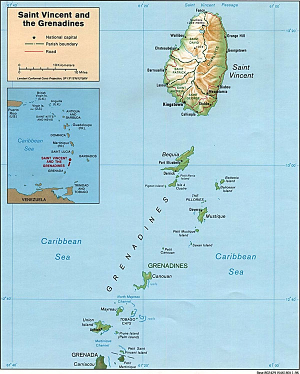 Large detailed political and relief map of Saint Vincent and Grenadines.