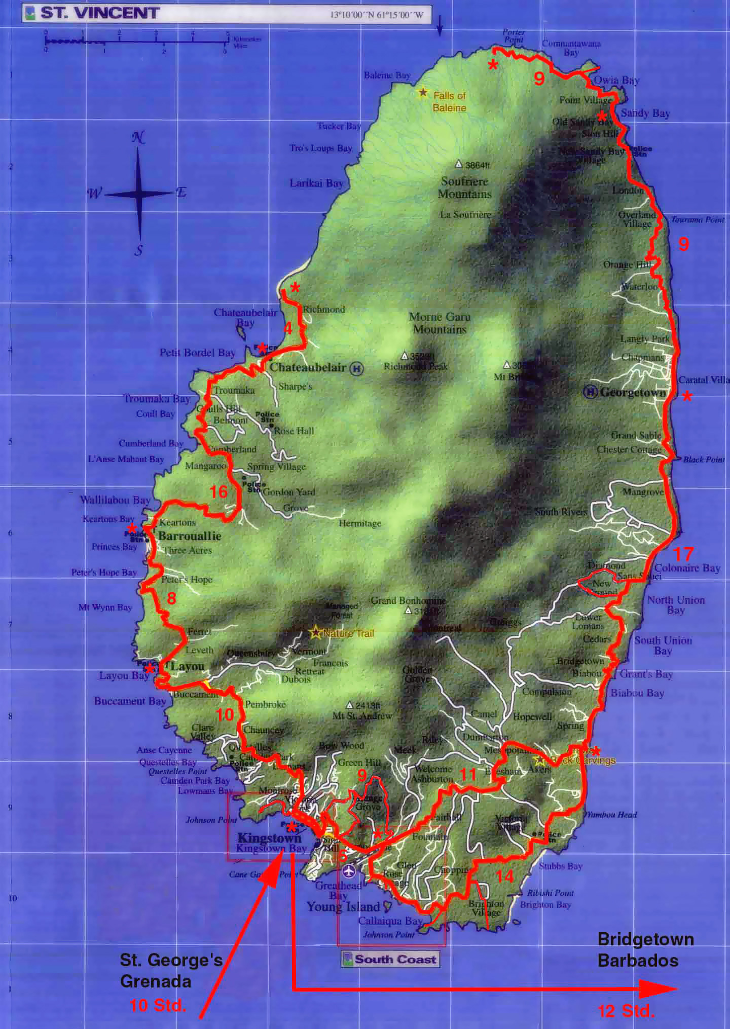 Large detailed relief map of Saint Vincent island with roads Saint