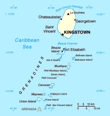 Map of Saint Vincent and the Grenadines. Saint Vincent and the Grenadines map.
