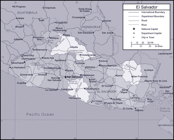 Detailed administrative map of Salvador.
