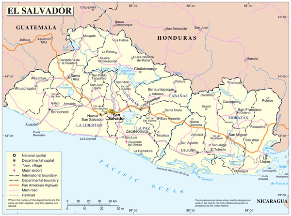 Large detailed administrative map of El Salvador.