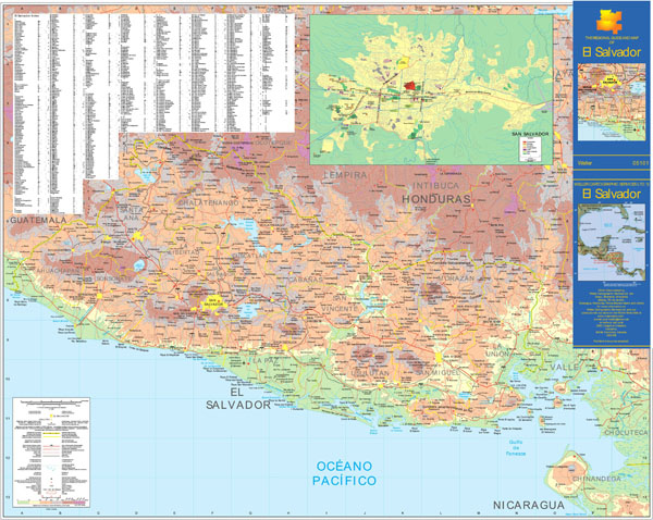 Large detailed physical and topographical map of El Salvador with roads and cities.