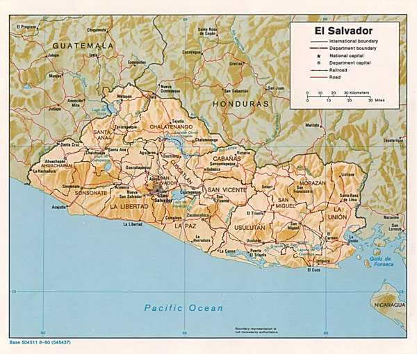 Large detailed political and relief map of Salvador.