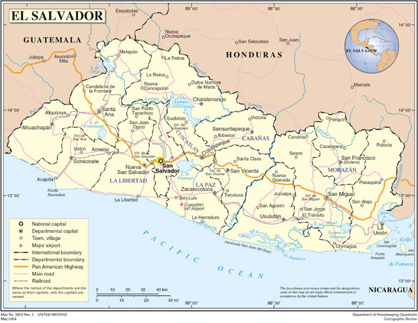 Large detailed political map of El Salvador with roads and cities.