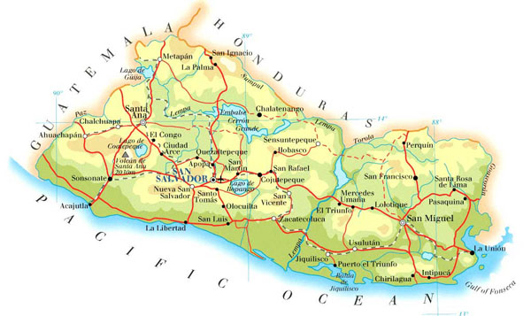 Large detailed road and physical map of El Salvador.