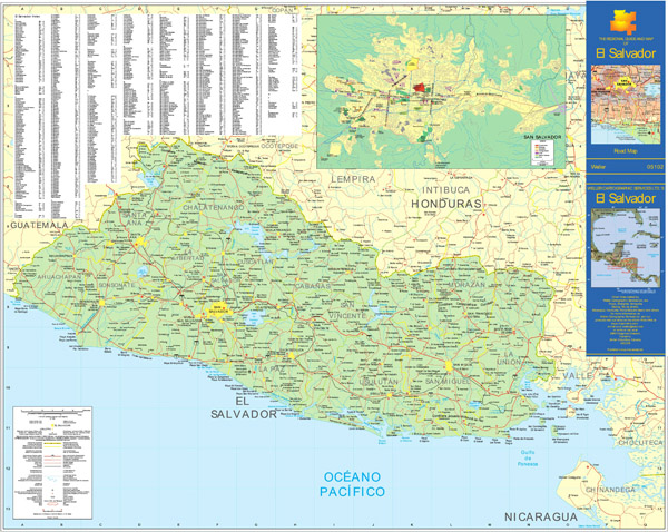 Large detailed road map of El Salvador. El Salvador large detailed road map.